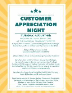 Customer Appreciation Night (Postponed to October) @ Harmony Community Center