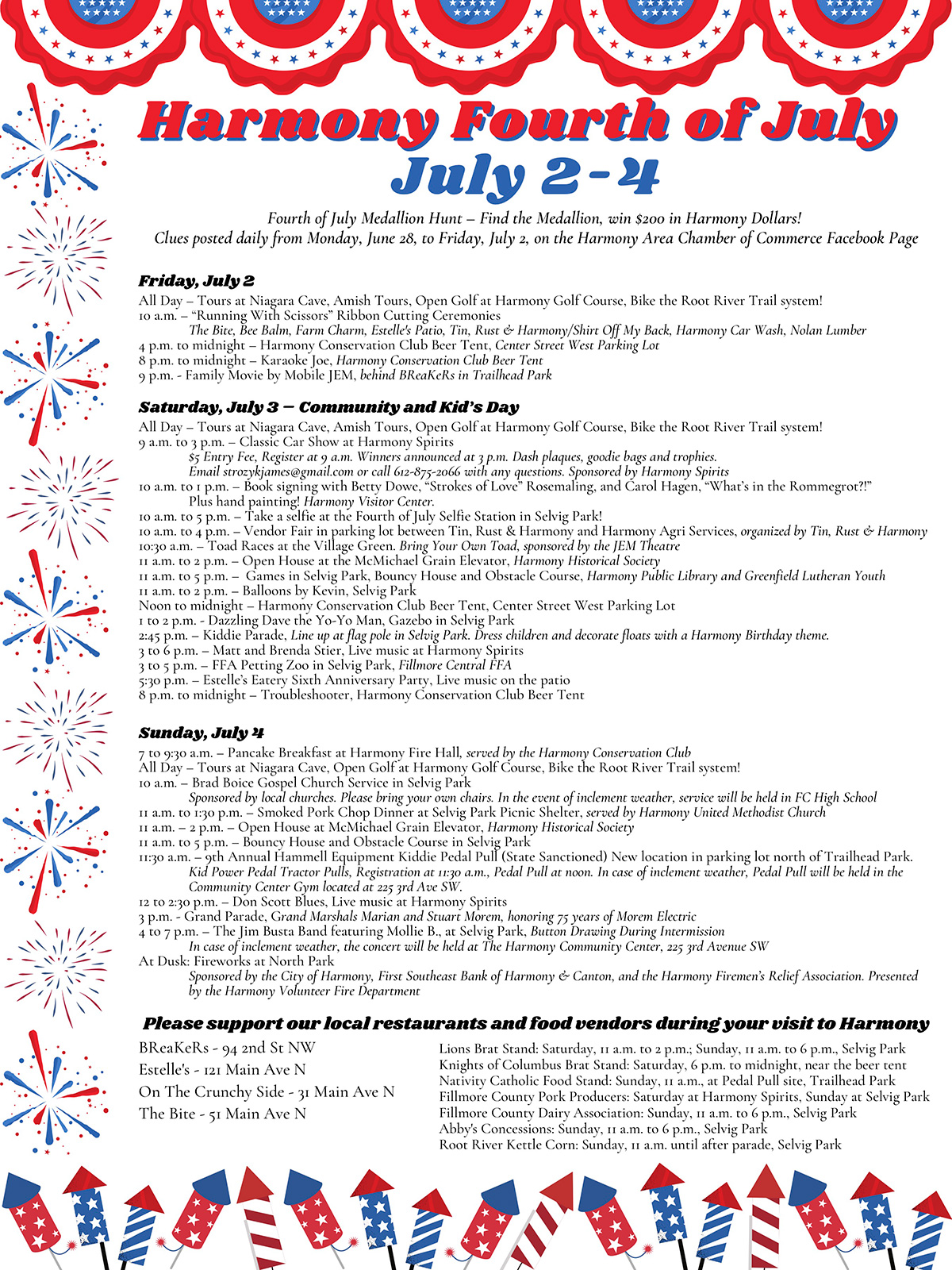 Harmony 4th of July Schedule